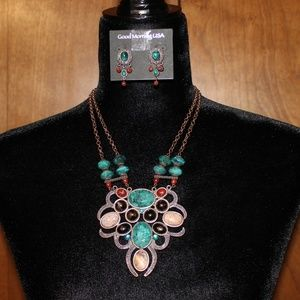 Good Morning USA Jewelry - Statement Necklace and Earring Set